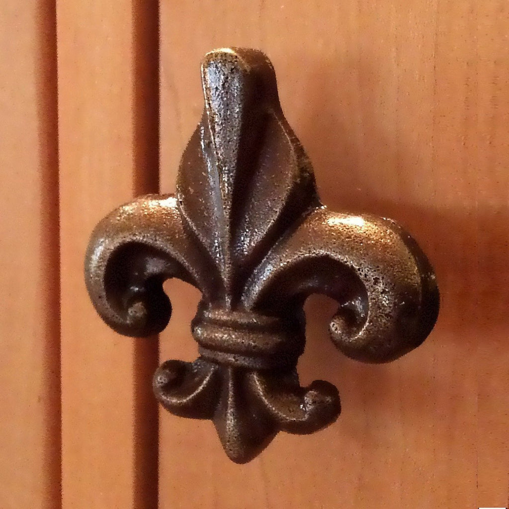 Fleur de Lis Cast Iron Cabinet Knobs Dresser Drawer Pulls-Dwyer Home Collection
