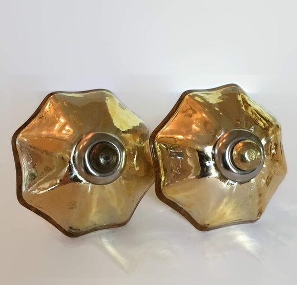 Gold Mercury Glass Cabinet Knobs With Simple Silver Collar 1¾