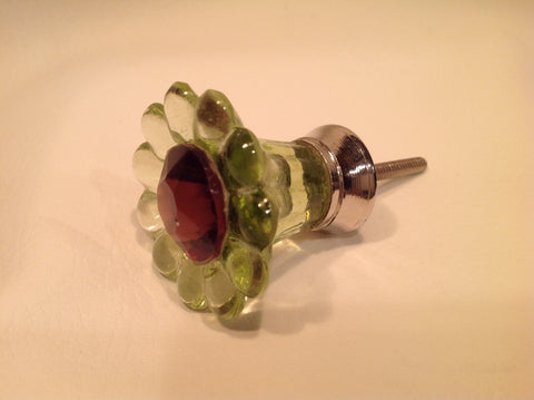 Green Glass Daisy Cabinet Knobs Dresser Drawer Pulls (g)-Dwyer Home Collection