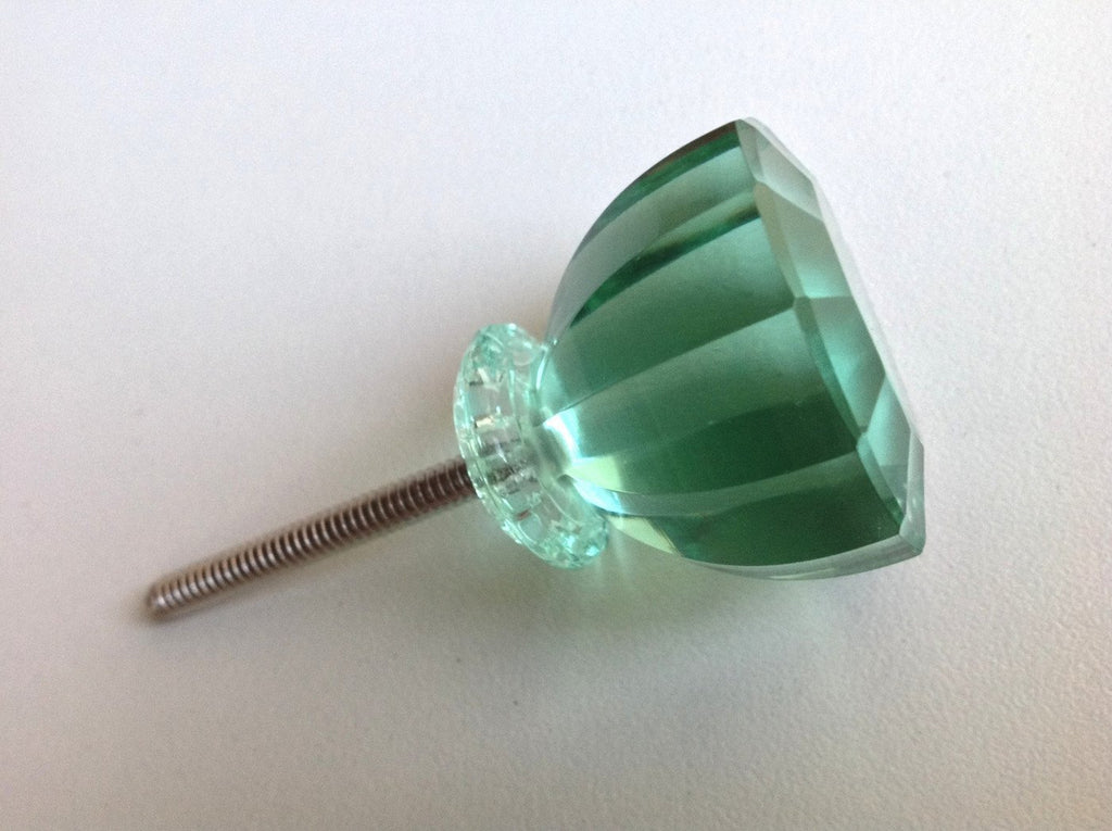 Antique Vintage Modern Mint Green Glass Crystal Cabinet Knob Discounted-Dwyer Home Collection