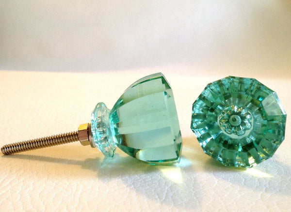 Green Glass Cabinet Knobs And Drawer Pulls: Antique Vintage Modern Mint Green Glass Cabinet Knobs
