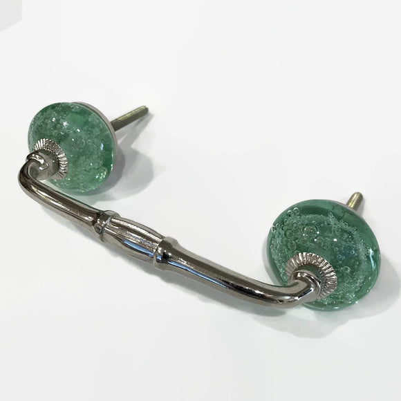 Mint Green Glass Bubble 4 Inch Cabinet Handles Dresser Drawer Pulls-Dwyer Home Collection