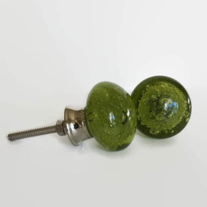 Olive Green Glass Bubble Cabinet Knobs Dresser Drawer Pulls (s)-Dwyer Home Collection