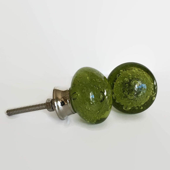 Olive Green Glass Bubble Cabinet Knobs Dresser Drawer Pulls-Dwyer Home Collection