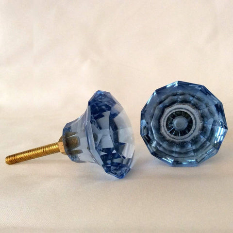 Cool Blue Diamond Cut Glass Cabinet Knobs Dresser Drawer Pulls (s)-Dwyer Home Collection