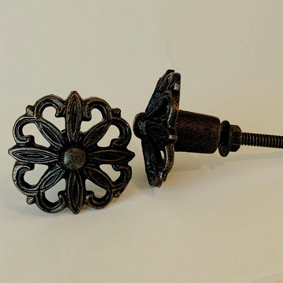 Rustic Filigree Cast Iron Bronze Cabinet Knobs Dresser Drawer Pulls 1.5 Inch-Dwyer Home Collection