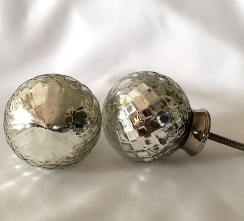 Silver Mercury Large Textured Antiqued Cabinet Knobs Drawer Pulls