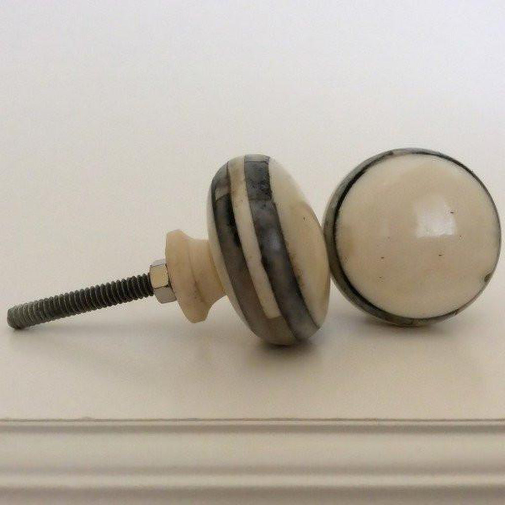 Smoky Grey Accents on Polished Bone Cabinet Knobs Dresser Drawer Pulls