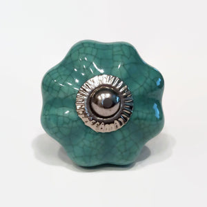 Teal Blue Green Porcelain Cabinet Knobs Dresser Drawer Pulls-Dwyer Home Collection