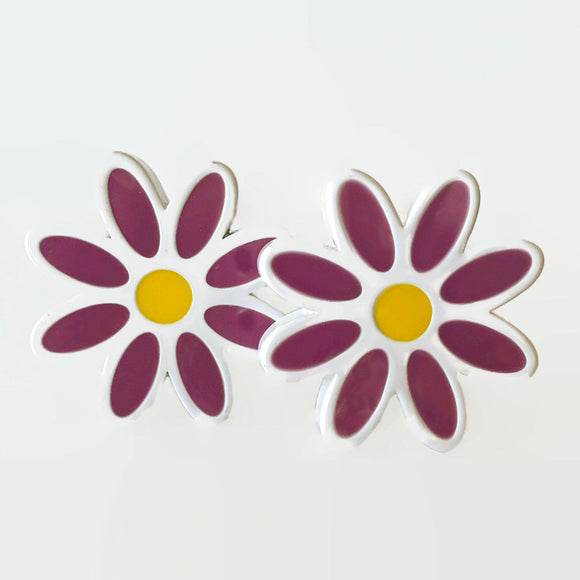 Cheery White and Violet Daisy Drawer Pulls Cabinet Knobs-Dwyer Home Collection