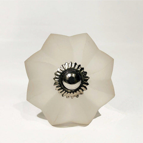 Frosted White Glass Cabinet Knobs Dresser Drawer Pulls-Dwyer Home Collection