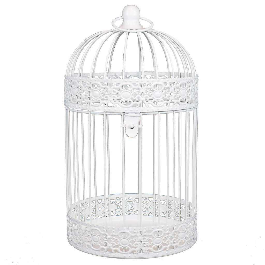 White Antique Style Bird Cage in Bright  - Large
