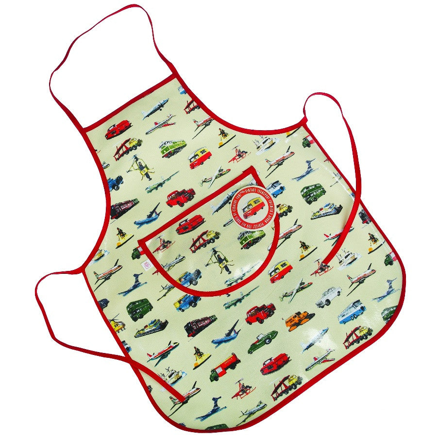 Children's apron with transport design