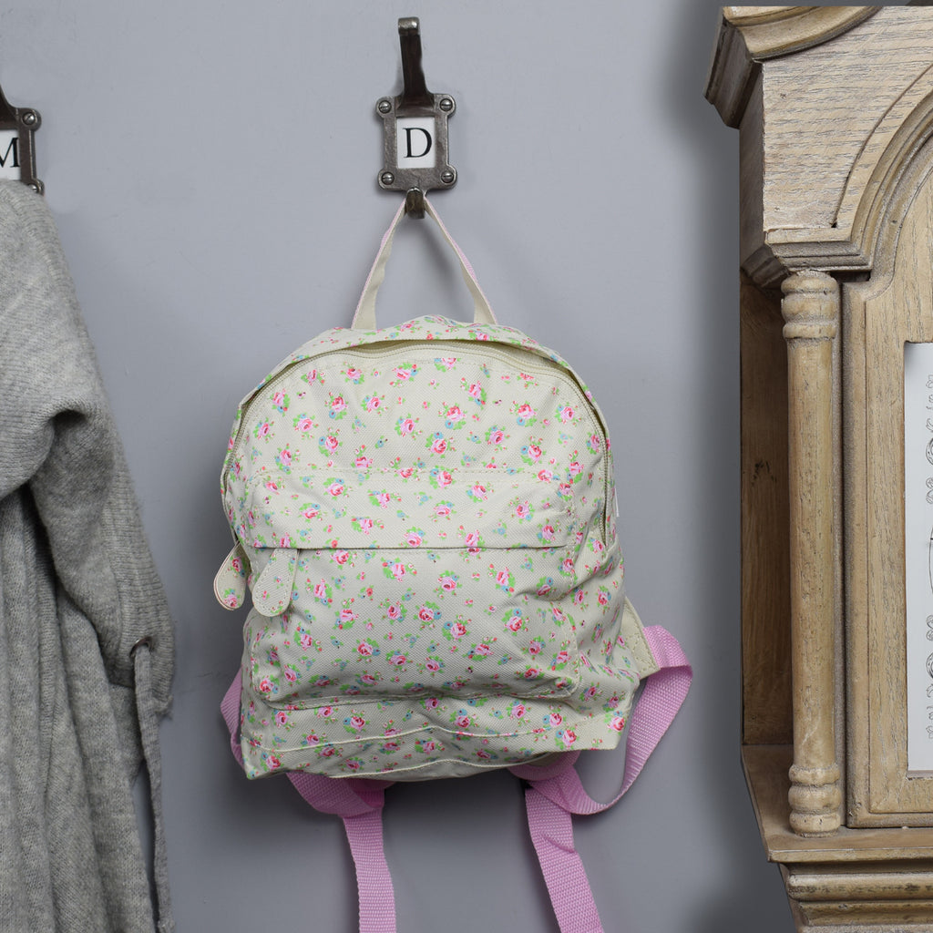 Children's Mini Backpack - Vintage Rose Design on hook