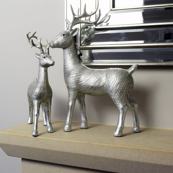 Antique Silver Reindeer Decoration - Small