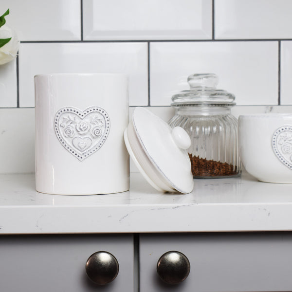 Floral Love Heart Pot with Lid in Kitchen