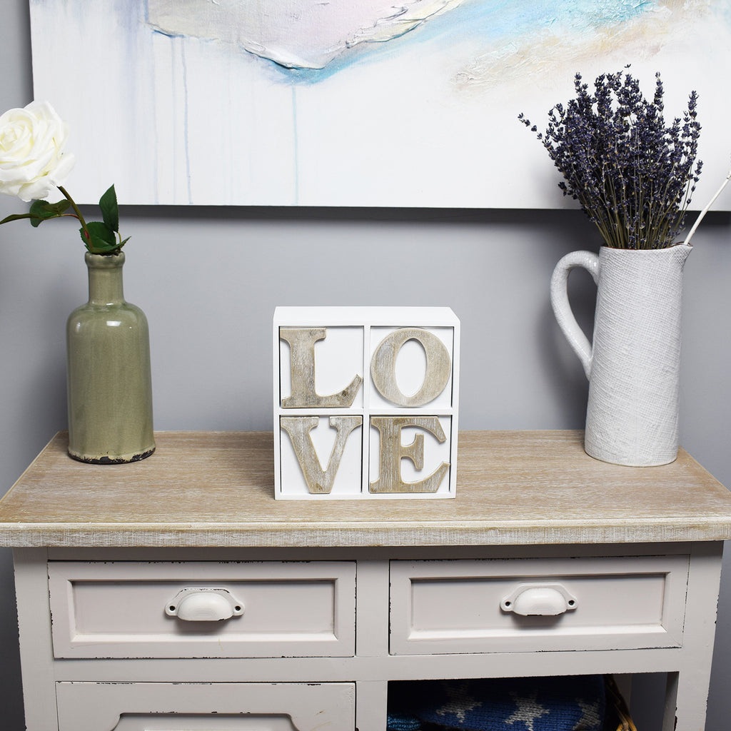 'LOVE' Four Drawer Chest in hall way