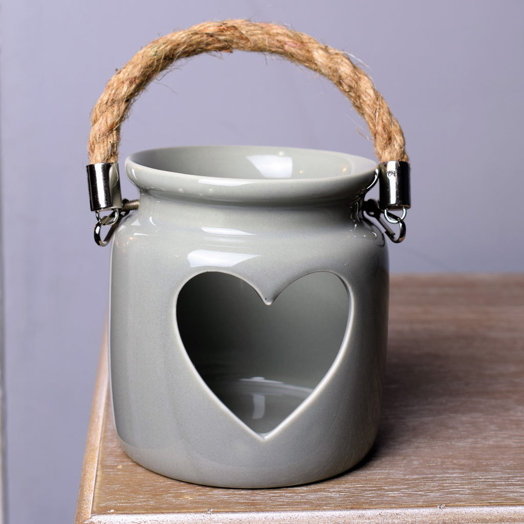 Love Heart Candle Holder in Sage Green / Grey