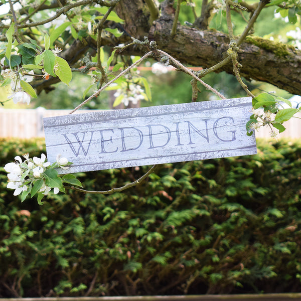 Hanging Wedding Sign in tree