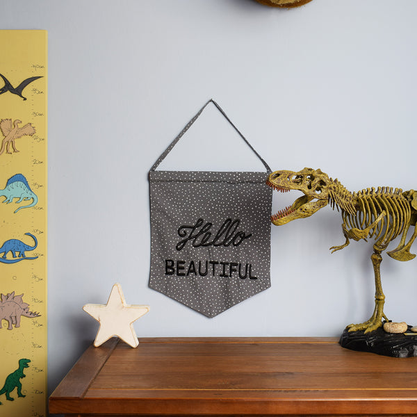Hello Beautiful Pastel Grey Banner in childrens bedroom