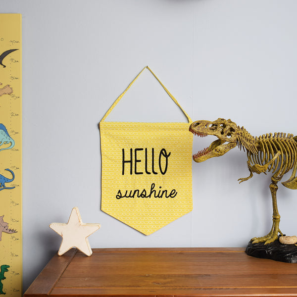 Hello Sunshine Pastel Yellow Banner in childrens bedroom