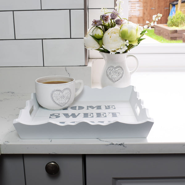 Home Sweet Home Wooden Square Tray in kitchen