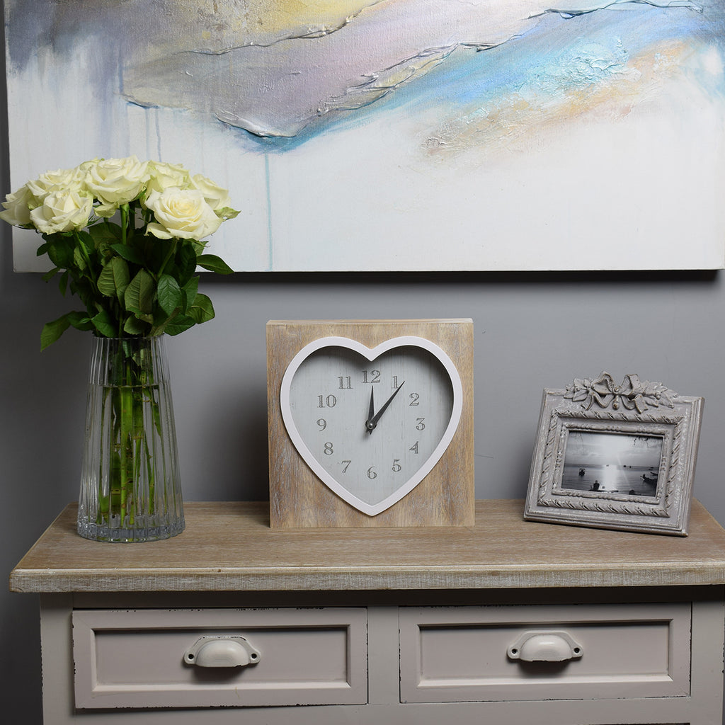 Lime-Washed Wooden Heart Clock on sideboard