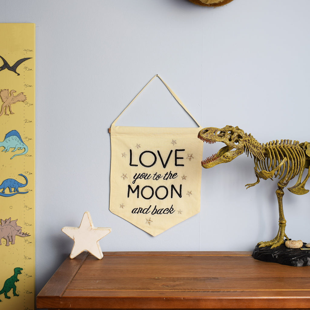 Love You To The Moon & Back Banner in childrens bedroom