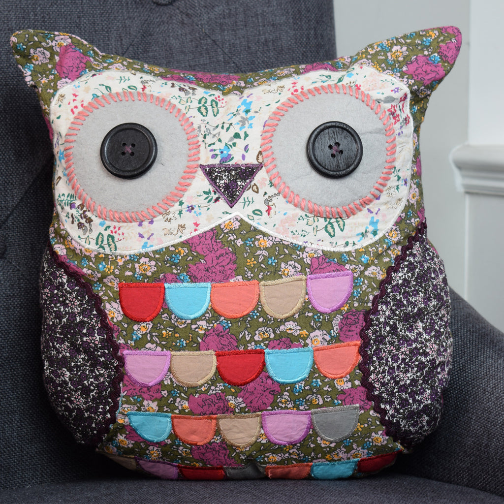 Mary the Owl Cushion on chair