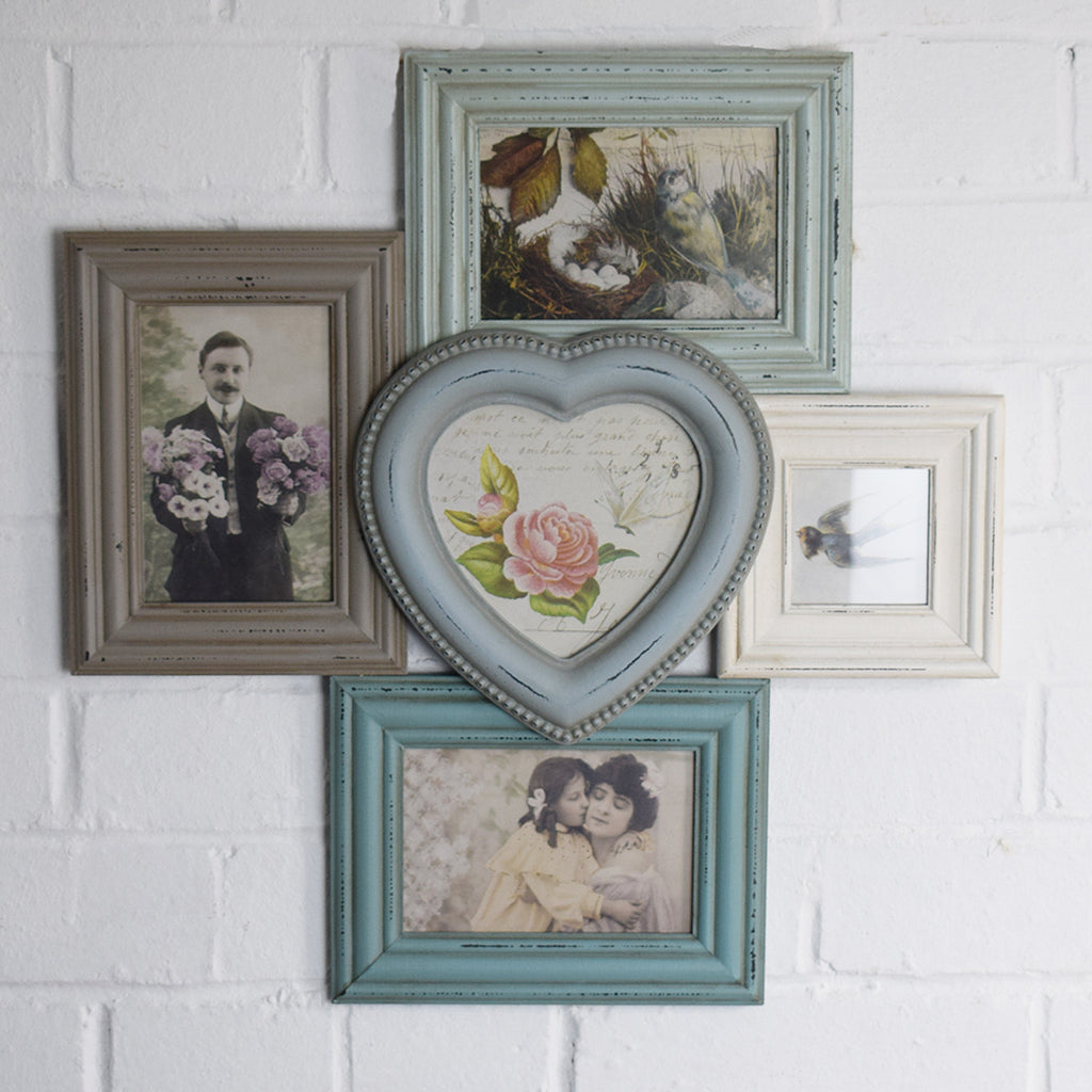 Multi Aperture & Heart Photo Frame - Blue