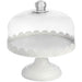 White Cake Stand with Glass Dome Lid