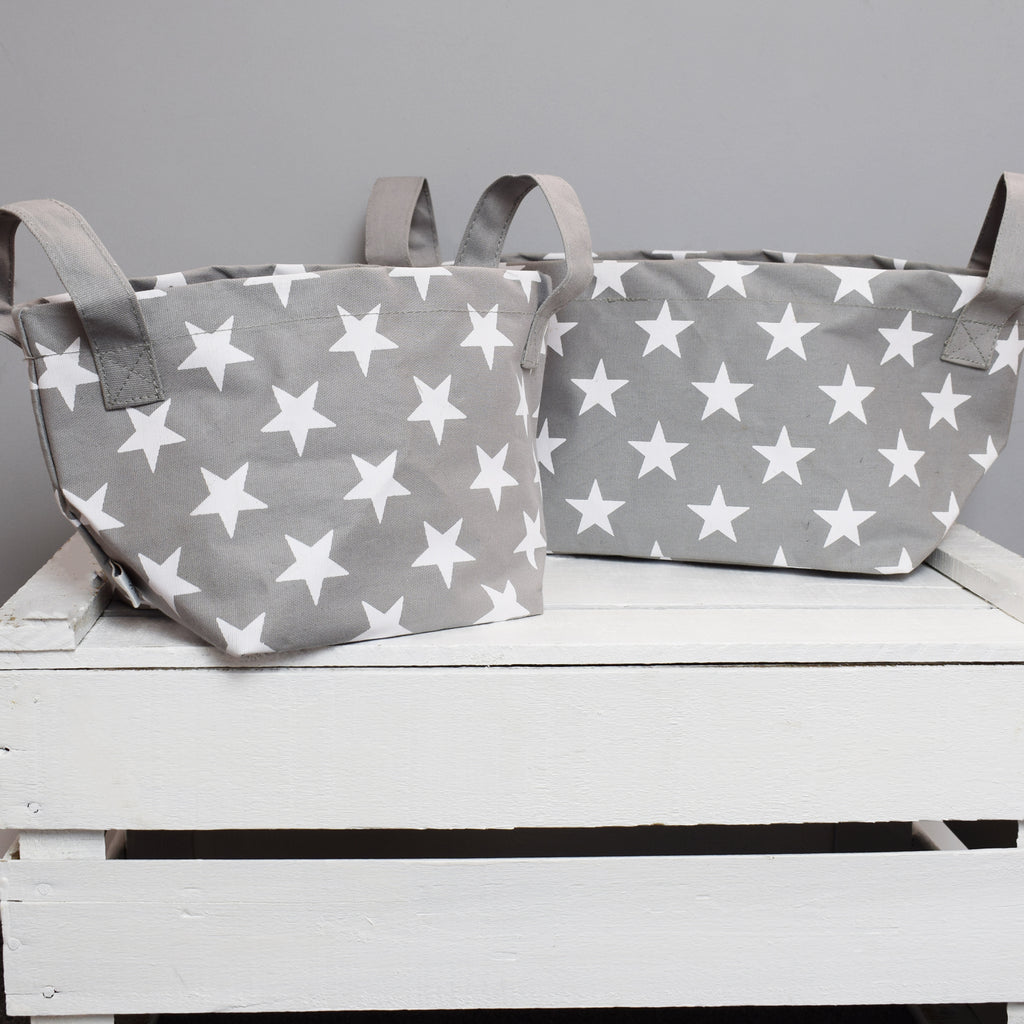 Set of 2 Grey and White Star Storage Baskets