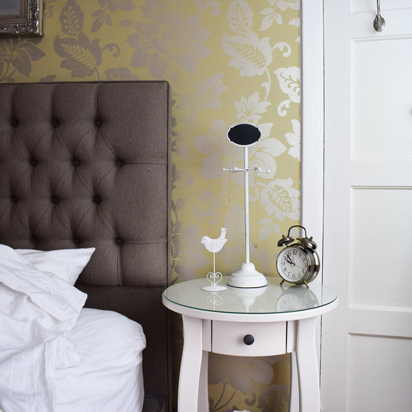 Shabby Chic Chalkboard Stand in bedroom