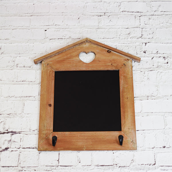 Wall Hanging Chalkboard with Hooks on brick wall