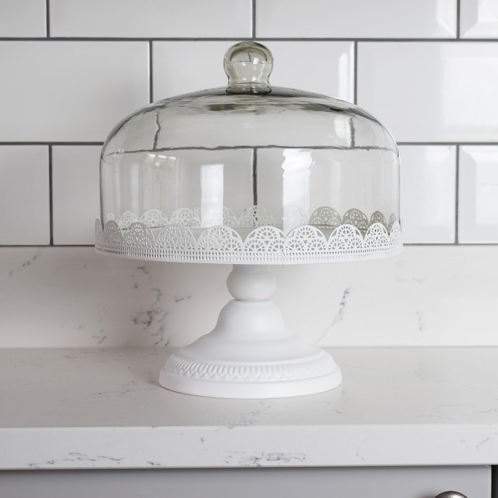 White Cake Stand with Glass Dome Lid Kitchen