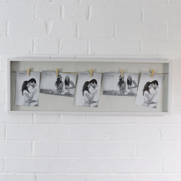 White Wooden Clothes Line Style Photo Frame