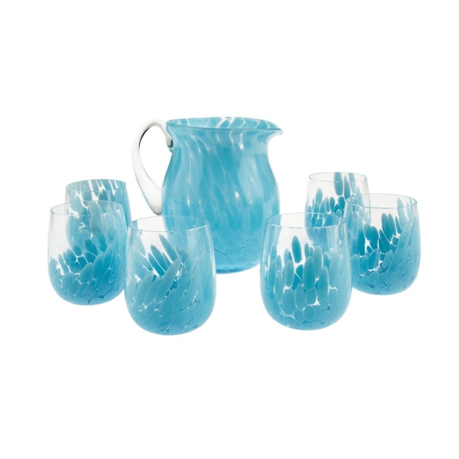 Light Blue Flair - set di 6 bicchieri con brocca in vetro di Murano