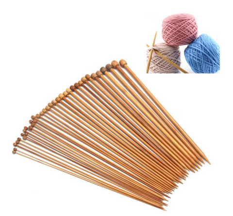 36PCS 1SET 18 SIZES CARBONIZED BAMBOO KNITTING NEEDLES