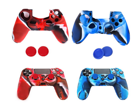 2 Silicone Skin Case Cover + 4 Joystick Thumb Stick Caps for PS4