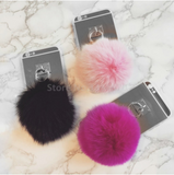 SILVER BACK POM-POM IPHONE COVERS