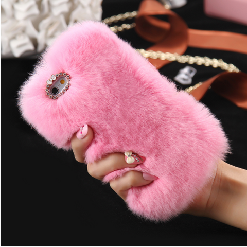 LUXURY RABBIT FUR IPHONE CASES