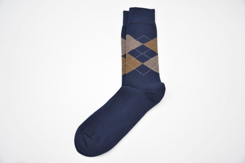 Calcetines de media caña rombos argyle blue