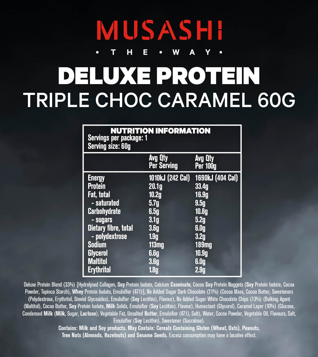 Musashi Deluxe Protein Bar Triple Choc Caramel 60g (Box of 12)