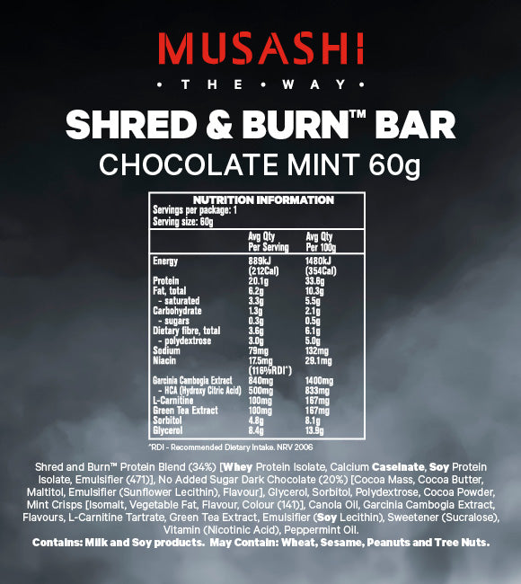 Musashi Shred & Burn Low Carb Bar Chocolate Mint 60g (Box of 12)