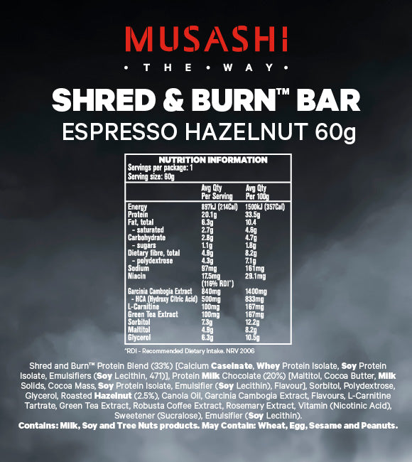 Musashi Shred & Burn Low Carb Bar Espresso Hazelnut 60g (Box of 12)