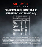 Musashi Shred & Burn Bar Espresso Hazelnut 60g (Box of 12) (Expire on 9 Aug 2020)