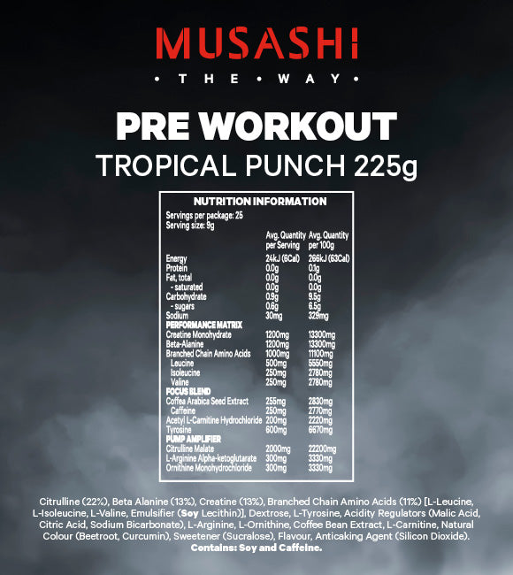 Musashi Pre-Workout Tropical Punch 225g