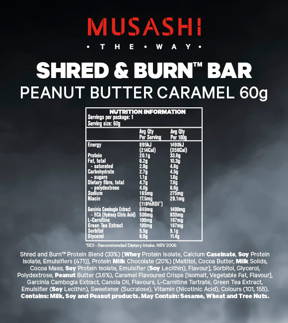 Musashi Shred & Burn Low Carb Bar Peanut Butter Caramel 60g (Box of 12)