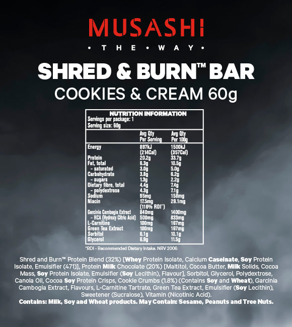 Musashi Shred & Burn Low Carb Bar Cookies and Cream 60g (Box of 12)