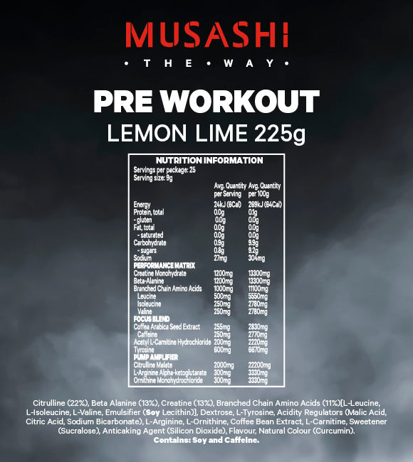 Musashi Pre-Workout Lemon Lime 225g